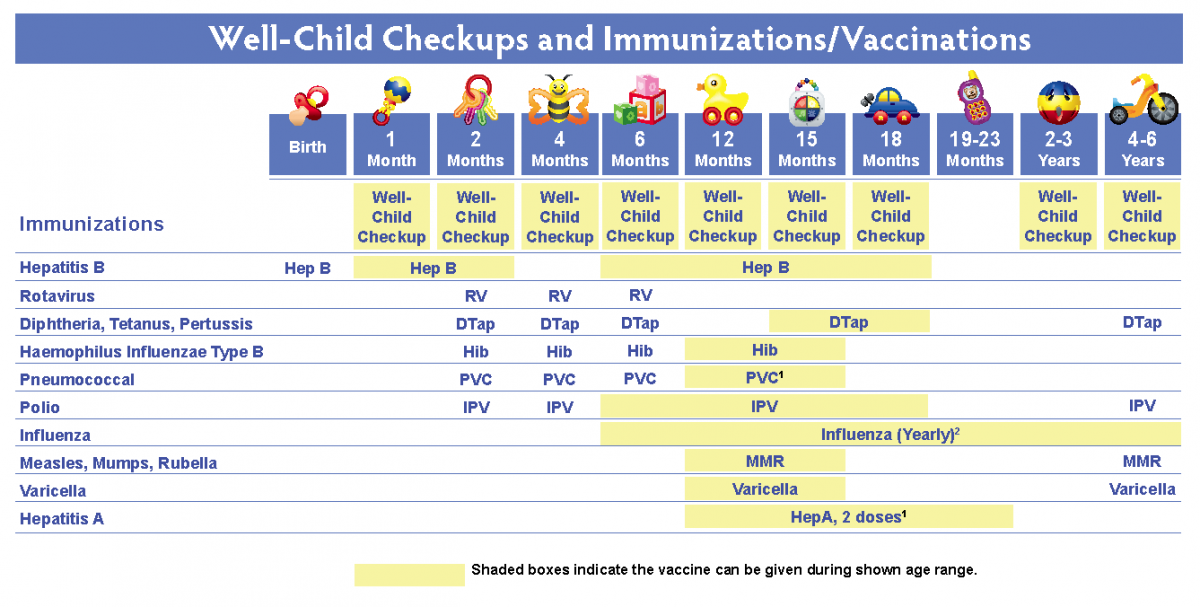 This Chart Lists Important Vaccines And Tests As Well Recommended Child Visits In Addition To These Vaccinations We Recommend All Children Aged 6